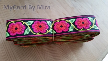 "Webband ""Ultra-Neonflower rot-pink""  - 33 mm"